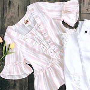 Blush Pink Striped Lace-up Blouse